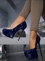 синие свадебные сандалии оптовых-Бесплатная доставка 2016 новые дамы лакированная кожа 15 см супер туфли на высоком каблуке сандалии 4 см платформа свадьба евро размер 34-41 темно-синий GL22