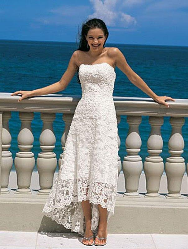 Strapless High Low Tea Length Lace Beach Wedding Dresses