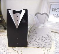 presentes do partido do noivo venda por atacado-Novo 100 pcs Favores Do Casamento Das Caixas Dos Doces Da Noiva e Do Noivo com Caixa de Presente Caixa de Presente do Teste Padrão de Flor