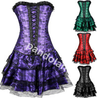 Wholesale Gothic Lolita Dresses - Wholesale 2017 New Corset Dress+G-string Bustier Top Sexy Gothic Clubwear 3 Pieces Free shipping 4 Colors S M L XL XXL