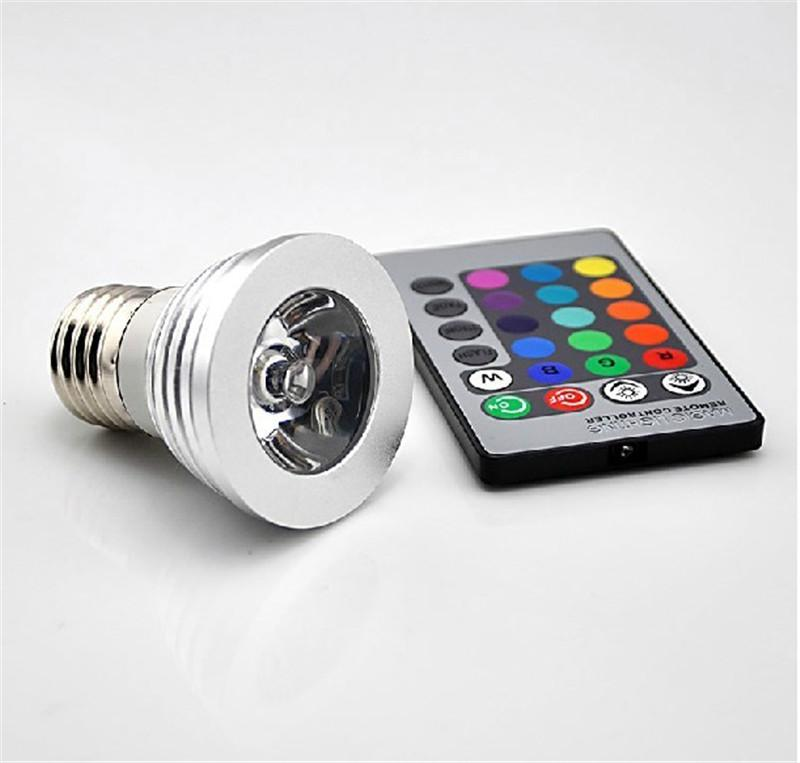 3W LED RGB Bulb Changing 3W LED Spotlights RGB led Light Bulb Lamp E27 GU10 E14 MR16 GU5.3 with 24 Key Remote Control 85-265V