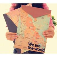 Wholesale Document Map - Retro World Map File Folders Creative Paper A4 File Bag Office Document Holder Filing Supplies 20pcs lot SH600