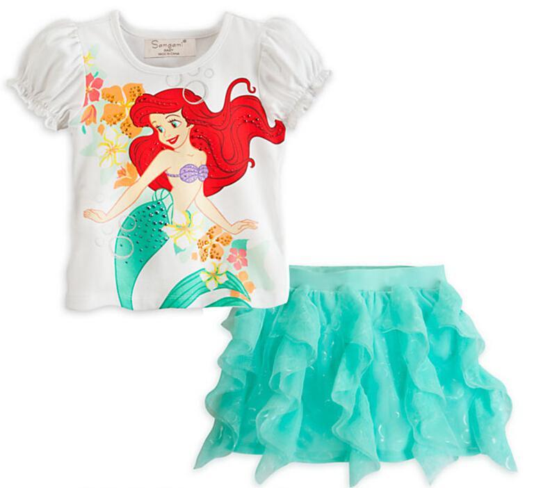 d116837c7bc New Girls Little Mermaid T Shirt   Skirt Sets Clothes Children T-shirts Baby  Skirts Suit Kids Cartoon Clothing Set Girls Frozen Skirts Baby Elsa Anna T  ...