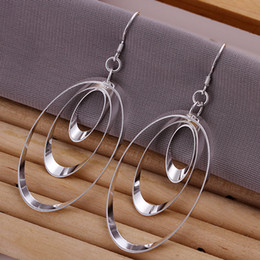Wholesale 925 Circle Earrings - Pretty Gift 925 Silver Three Circles Hoops Earrings Fashion Ladies Earrings 10pairs