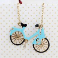 Wholesale Lovely Beaded Necklace - Fashion Vivid Design Lovely Enamel Bicycle Pendant Necklace