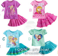 Wholesale Shirt Skirt Tutu - 2016 Baby Girl Dress Set Summer Cotton Elsa Anna T shirt Layered Tutu Dresses Sets Skirt 2Pcs Suits Little Girl Princess Costume