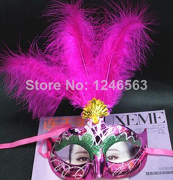 $enCountryForm.capitalKeyWord Canada - Hot sales 20pcs high quality festive feather Mask for kids & adult Christmas Masquerade the bar dance party Mask