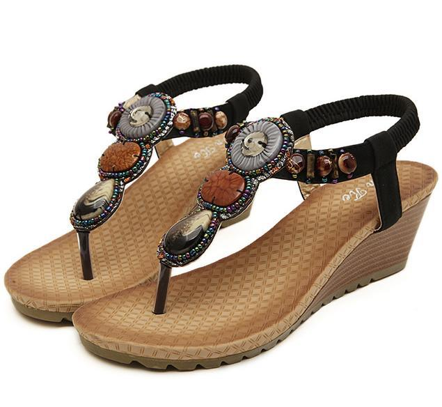4c8dd00e4e25 Handmade Gem Bohemian Rhinestone Sandals Small Wedge Heel Flip Flops Beach  Sandals Soft Sole Women Cheap Sandals Size 35 40 Jack Rogers Sandals White  Wedges ...