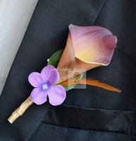 natural touch flowers wholesale NZ - Wedding flowers Natural real Touch Calla Lily Corsages Handmade Groom's Boutonniere For Wedding orange red white purple color