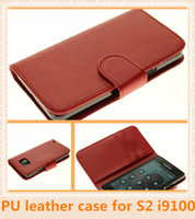 Wholesale S2 Case Ups - PU wallet leather fashion case white red black pink for Samgsumg S2 i9100 dhl free ship 20pcs up
