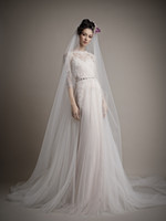 Wholesale Ersa Atelier Wedding Dresses - 2015 Wedding Dresses A-Line Scalloped Tulle Lace Bridal Gowns Appliques Jacket Backless Half Sleeves by Ersa Atelier
