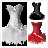 Wholesale Sexy Lingerie Lolita - 2017 New Sexy Satin Lingerie Lace up Corset Bustier Mini Tutu Petticoat Skirt Fancy Dress Costume 3 Pieces 3Color S-2XL