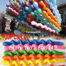 Wholesale Wholesale Screwed Spiral Shape Balloon - Big Discount!! 100Pcs Lot Screwed Spiral Shape Latex Balloon,Party & Holiday Decoration Ballons,Colorful Free Shipping 8490