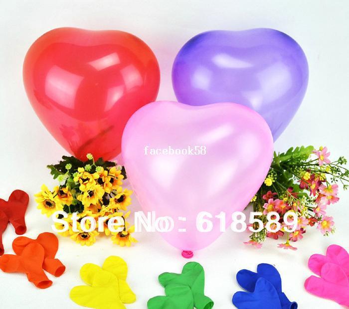 Palloncini del lattice della decorazione di San Valentino della decorazione di San Valentino dei cuori di forma di cuore di 200pcs / lot 7Inch 0.7g Trasporto libero all'ingrosso