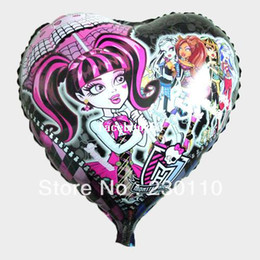 Wholesale High Pa - Free shipping 50pcs lots wholesale 18 inch heart-shaped film MONSTER HIGH balloons, helium balloons , holiday parties , value !