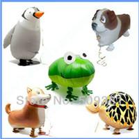 bebek varış hediyeleri toptan satış-Yeni gelen! 50 adet / grup, Ücretsiz Nakliye, Toptan, Çeşitli Alüminyum Folyo Helyum Yürüyüş Hayvan Pet Balonlar, Bebeğin Oyuncak Hediye.