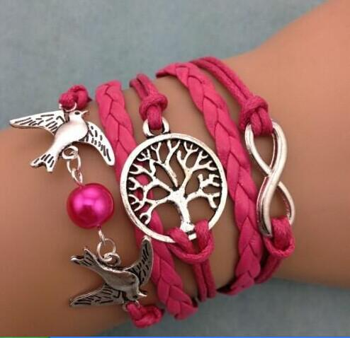 Vintage Infinity Bracelets Wish Tree Cross Leather Bracelet, Men Women Bracelets & Bangles 2014 Jewelry