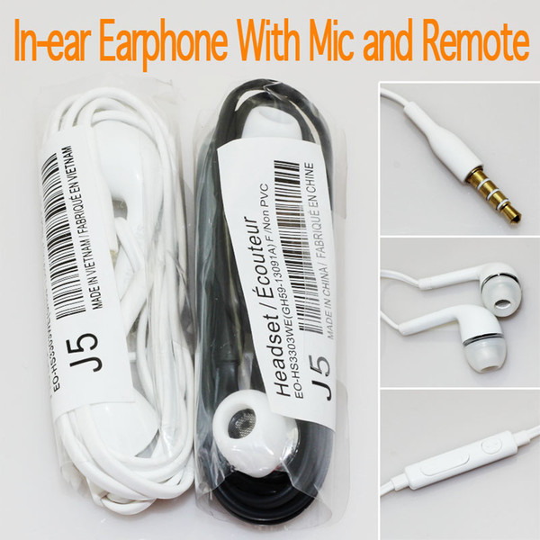 top popular Headphones In-Ear Earphone with Mic and Remote Stereo 3.5mm Headset for Galaxy S7 S6 S5 S4 200pcs up 2021