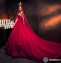 Wholesale Strapless Ball Gown Cathedral Train - 2014 Gorgeous Long Wedding dresses ball Gowns Strapless Sleeveless appliques Cathedral Train Tulle Red Bride Gowns