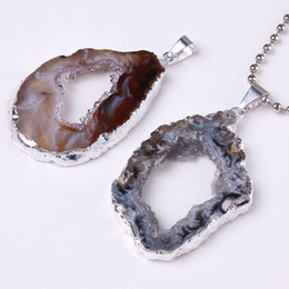 Wholesale Crystal Geode Pendant - Free Shipping wholesale 10 PCS Charm Silver Natural Durzy Agate Geode Crystal Stone Random Shape Pendant Jewelry Fit Necklace