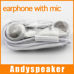 Wholesale Earphone Iphone Mic 3gs - Earphone for Iphone 4 4s 3gs Stereo Earbuds Headphone with MIC high quality free shipping 100pcs lot