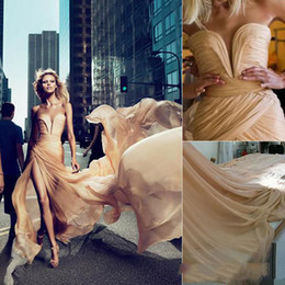 Wholesale Elie Saab New Sexy - 2014 New Arrival Elie Saab Anja Rubik Dresses Formal Gown With Champagne Chiffon Ruffled High Side Slit Celebrity Gowns