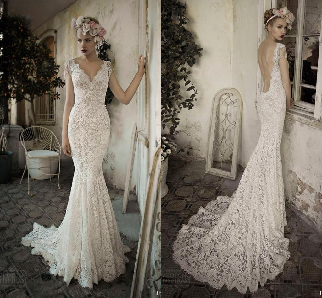 d90875a97ca Gorgeous Lihi Hod Vintage Lace Bohemian Backless Wedding Dresses V Neck Cap  Sleeve Pearls Tassel Court Train Beach Bridal Party Gowns 2017 Mermaid Dress  ...