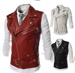 Wholesale Men Sleeveless Leather Jacket - Hot men's wholesale mens casual fashion zipper decoration sleeveless vest lapel leather vest jacket outerwear Free shipping