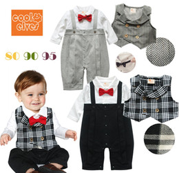 Wholesale Baby Boys Long Sleeve Vest - Retail Infants Baby Boy Gentleman One-piece Romper With Plaid Stripe Vest Child Red Bow Tie Crawling Coveralls Suit Kids Bodysuits Jumpsuits