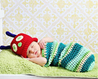 Wholesale Crochet Baby Hats Sleeping Bags - 2014 New Two Piece Sleeping Bag Baby Hat Caps Soft Comfortable Clothing Set Newborn Photography Props Baby Clothing