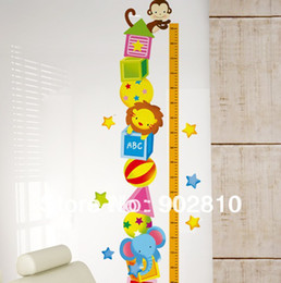 Wholesale Grow Measure - [listed in stock]-65-165cm Measure Animal Circus Kids Grown Up Ruler Growth Chart Wall Tower Decals for Children