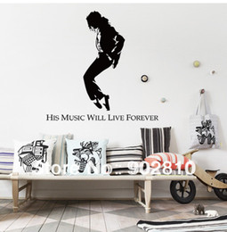 Wholesale Mj Stickers - [listed in stock]-His music will live forever-MJ MICHEAL JACKSON wall art stickers wallpaper music decorations for bedroom