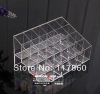 Wholesale Make Up Storage Holder - Plastic lipstick display rack transparent square grid make-up holder lip gloss storage cosmetics storage rack jewelry box