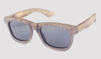 ingrosso lente antica-occhiali da sole in bambù con finitura grigio chiaro polarizzati anticati in vendita drop shipping