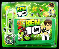 Wholesale Wholesale Purse Parts - Wholesale-Free shipping New children watches BEN 10 kids part Set watch Wristwatch and wallet purse