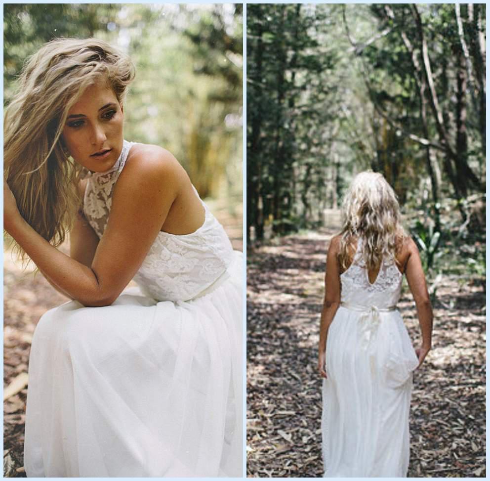 Discount Beautiful High Neck Lace Beach Wedding Dress Stunning Key