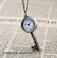 Wholesale Cute Watches For Men - Student Pocket watch Stainless Steel Cute Key Watch Antique Brass Cute Key Pattern Pocket Watch Necklace Rang Pendant for women man