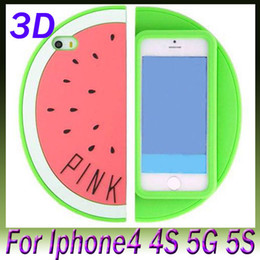 Wholesale Iphone 4s Stylish Case - Cute Cases Skin Cover For Iphone5 Iphone 5 5G 5S 4S 3D Pink WaterMelon Stereo Soft Silicone Gel Rubber Case Stylish