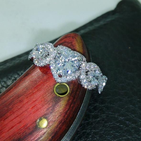storlek 6/7/8/9/10 gratis frakt 100% nytt märke design nya mode smycken 10kt vitguld fylld vit topaz cz pärla kvinnor weddiing ring