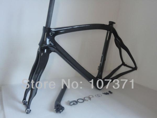 El más nuevo marco de la bici de la fibra de carbono del OEM 700C 3K lleno marco de la bicicleta del carbono del camino + tenedor + seatpost + seat clamp + headset del carbono libera el envío