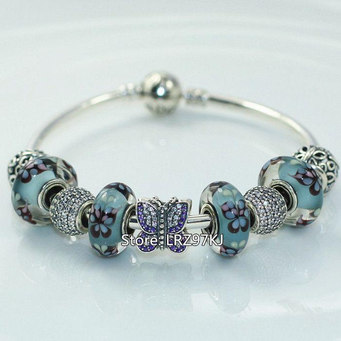 Autentico bracciale in argento sterling 925 10% con charms e perle in vetro di Murano-Farfalla blu scintillante