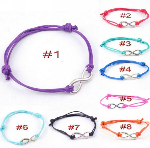 top popular MIC 20pcs lots Bohemian style Alloy Infinity Charm Bracelet Handmade Wax Cord Friendship Bracelet Christmas Gifts 2021
