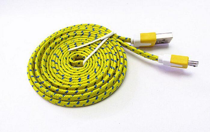 Noodle cavo intrecciato tipo C Cavo micro USB 2.0 Sincronizzazione dati Ricarica 1m 2m 3m Cavo Tessuto piatto doppio colori Samsung Galaxy S3 S4 S5