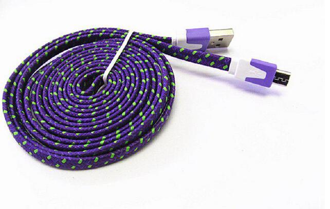 نودل مضفر نوع C كابل مايكرو USB 2.0 كبل مزامنة بيانات شحن 1M 2M 3M الحبل شقة المنسوجة النسيج المزدوج الألوان لسامسونج غالاكسي S3 S4 S5