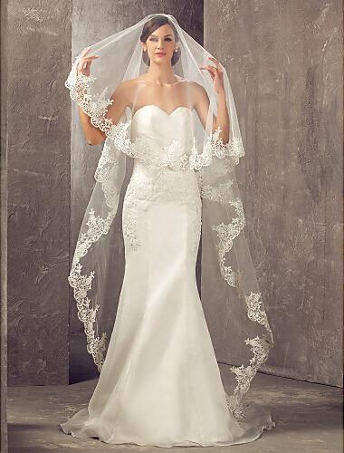 Veli da sposa cattedrale con bordo in pizzo applique One Tier Velo da sposa vintage su misura senza pettine