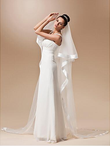 Vente chaude Cathédrale Longueur Deux couches Ruban Edge Robes de mariée Voyons Veil de mariée Moderne Moderne