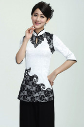 Wholesale Chinese Cheongsam For Sale - Shanghai Story Chinese cheongsam top for sale evening blouse Traditional Chinese Style Elegent Top Summer White Womens Blouses