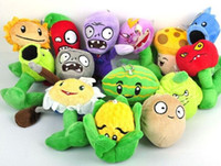 Wholesale Soft Toy Flowers - Hot sale 28pcs a lot Plants Vs Zombies Stuffed Soft Plush Toy Doll Shooter Nut Flower free shipping