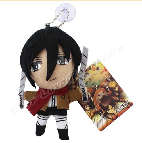 HOT SALE Satz Angriff auf Titan Mikasa / Eren / Levi / Armin 11.5cm weiches Plüsch-Puppe-Spielzeug Verschiffen frei
