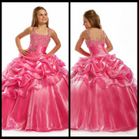 Wholesale Top Beautiful Wedding Dresses - Top selling 2014 Beautiful Ball Gown Hot pink Flower Girl Dresses Spaghetti Girl's Pageant Dresses Charming Party Dress